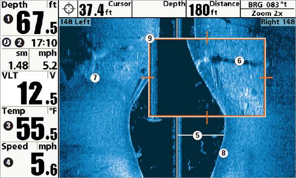 Изображение с сонара SideImaging с увеличенным участком