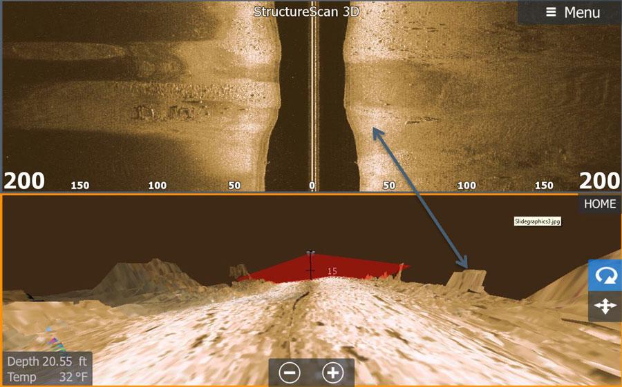 Изображение сонара бокового обзора и 3D сканера на дисплее эхолота