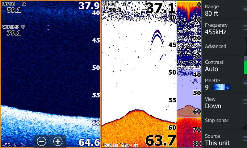 Трехкратное увеличение изображения с датчика Airmar TM 150