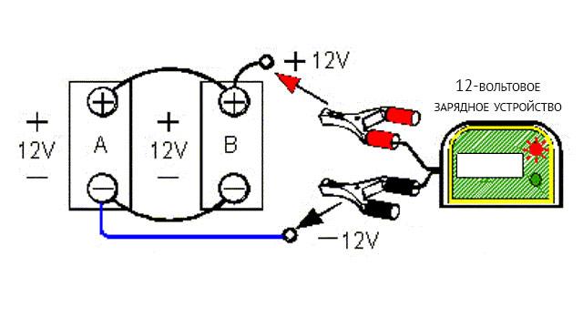 Зарядка двух параллельно соединенных аккумуляторов 12-вольтовым зарядным устройством