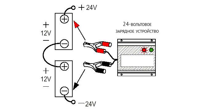 Зарядка двух последовательно соединенных аккумуляторов 24-вольтовым зарядным устройством