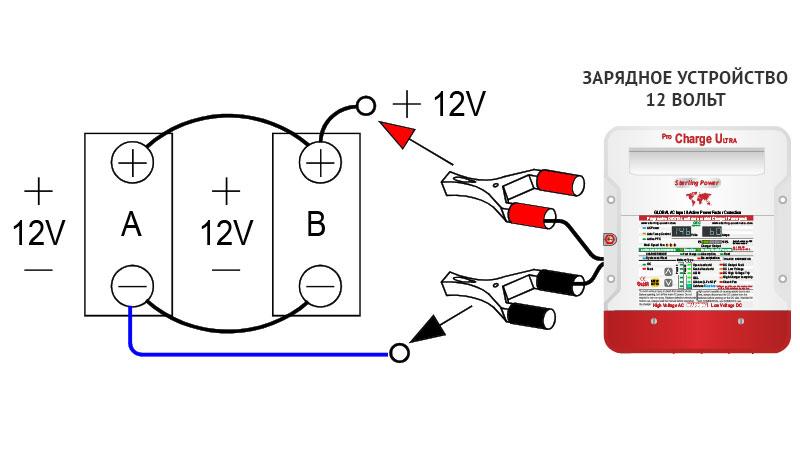 Зарядка параллельно соединенных аккумуляторов