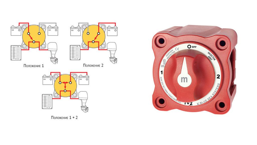 Схема подключения селекторного переключателя аккумуляторов