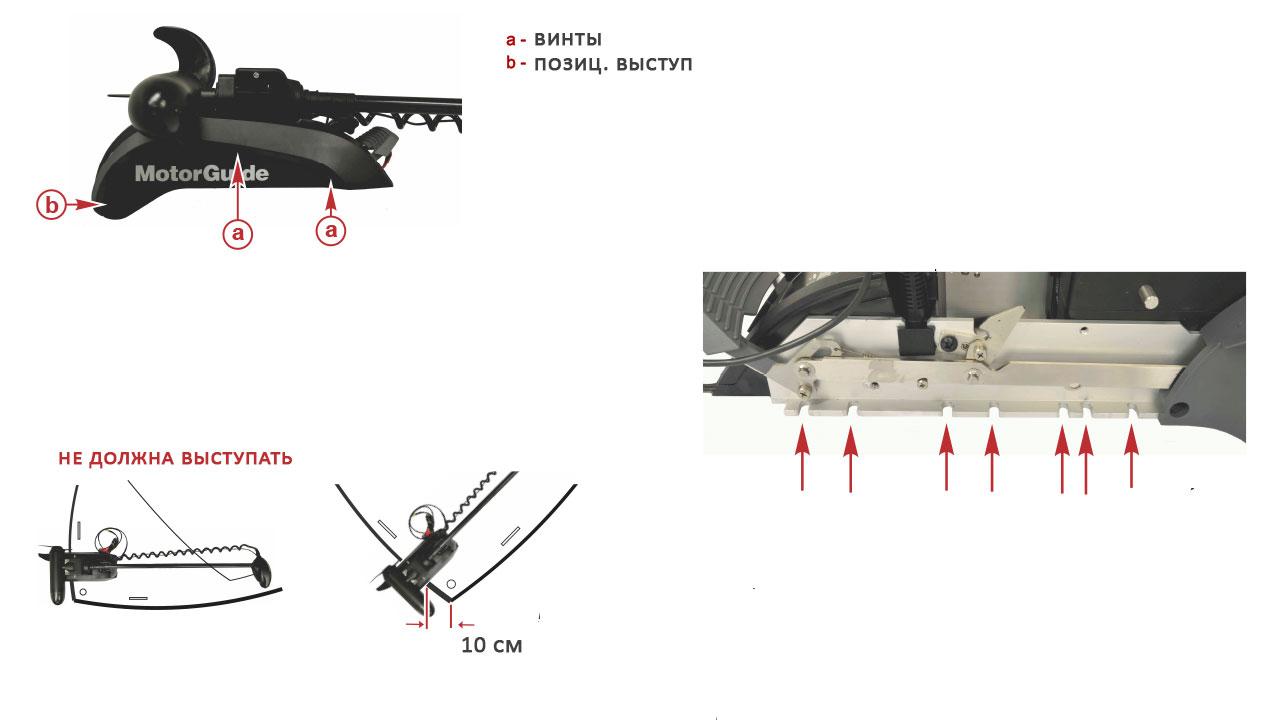Схема установки лодочного электромотора MotorGuide на катер