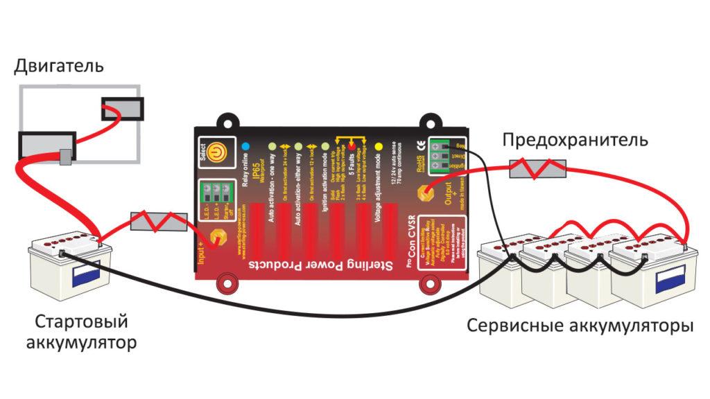 Схема установки реле для заряда двух аккумуляторов