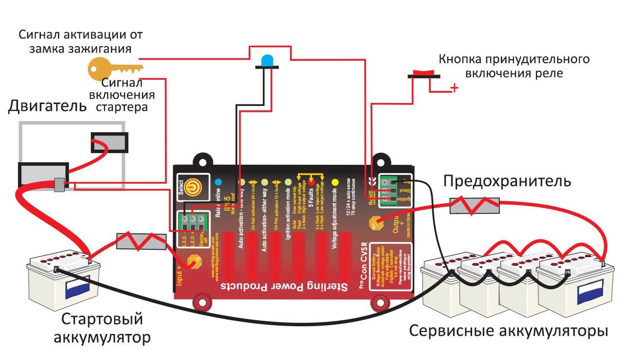 Схема подключения развязывающего реле для зарядки двух аккумуляторов
