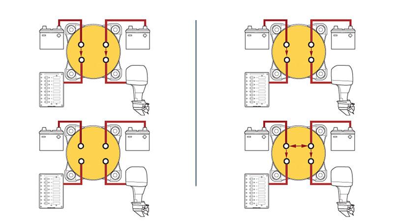 Схема подключения переключателя двух аккумуляторов