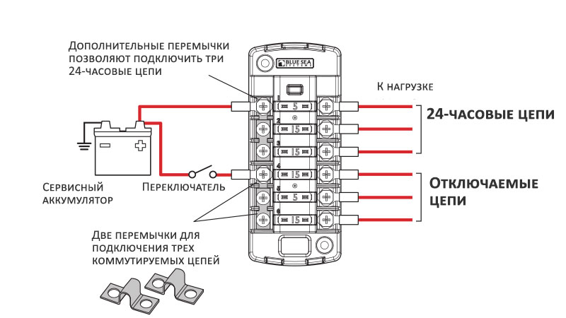 Схема подключения блока предохранителей Blue Sea 5035