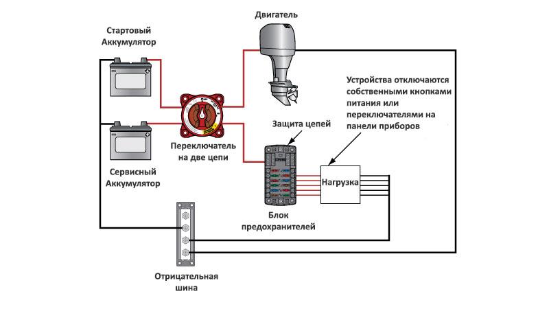 Схема подключения переключателя аккумуляторов на две цепи