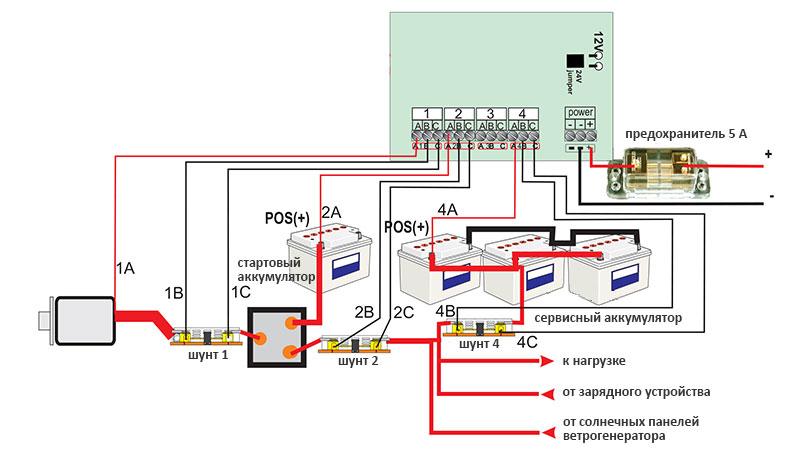 Схема подключения батарейного монитора Sterling Power PMP1