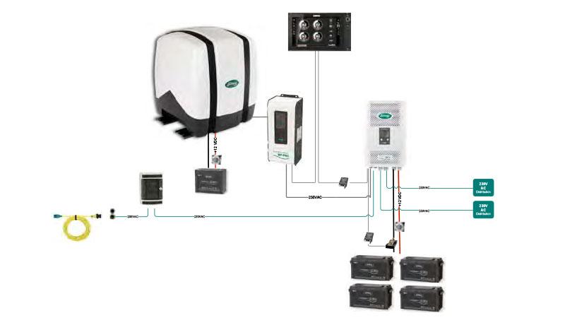 Схема подключения дизель-генератора с переменной скоростью вращения на яхте