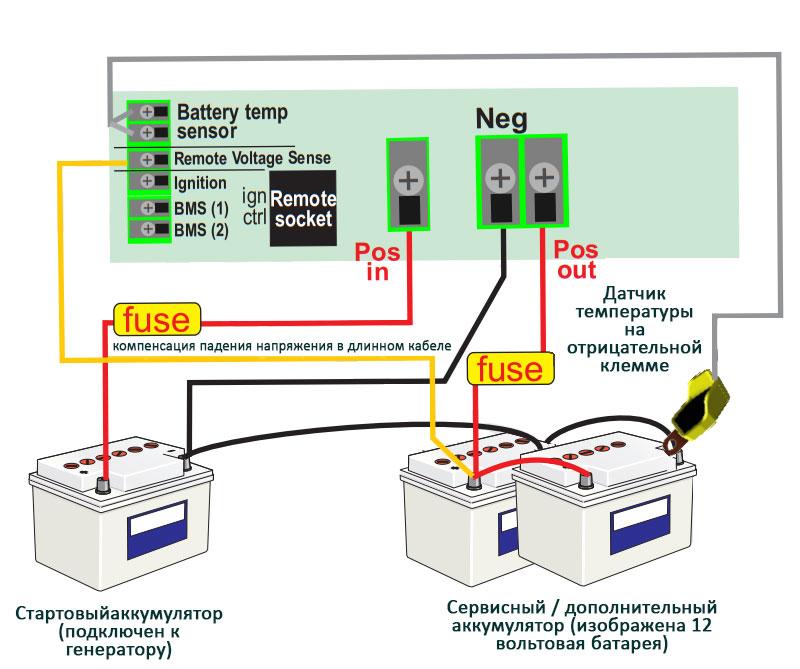 Схема подключения тяговых литиевых аккумуляторов для зарядки от генератора