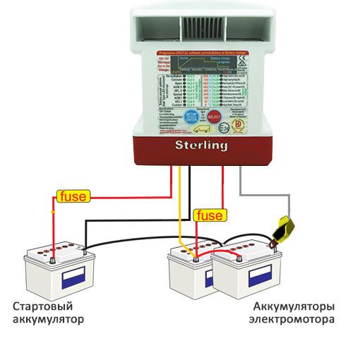 Схема зарядки аккумуляторов электромотора от альтернатора