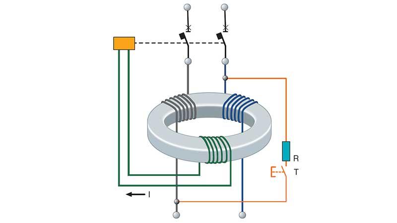 Схема работы выключателя дифференциального тока